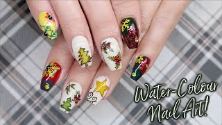 Water-Colouring Painting On Nails! | Christmas Nail Art | Day 5