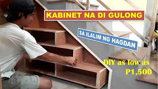ROLLING CABINET SHELVES UNDER THE STAIRCASE