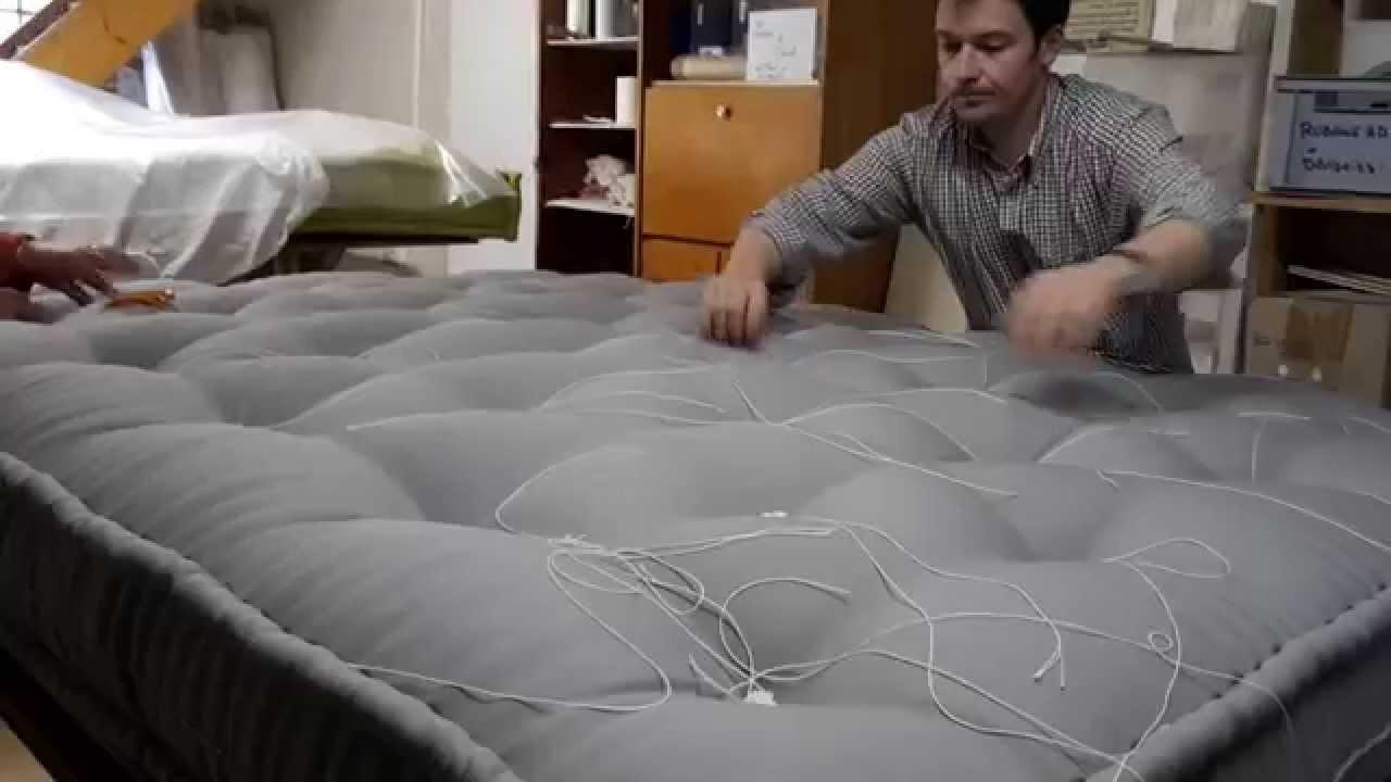 Capitonnage matelas laine crin et latex bio youtube - Matelas futon banquette ...