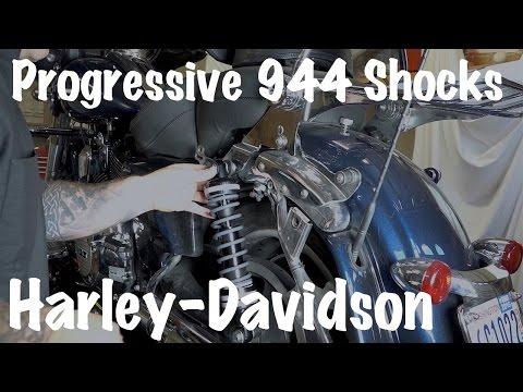 Install 944 Ultra Touring Progressive Shocks on a Harley Davidson   Adjust Sag