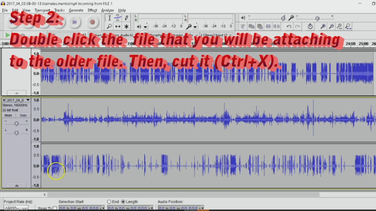 Audacity Tutorial: How to Merge Files into one  Ogg file
