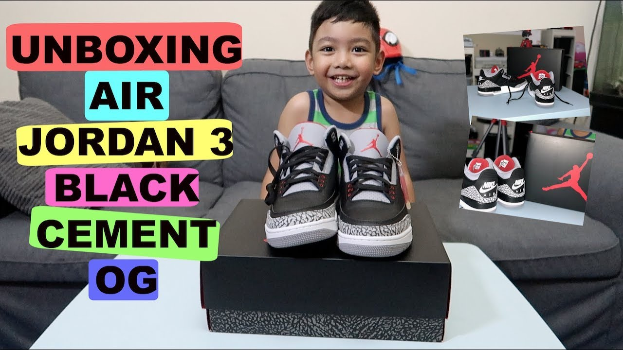 KID Unboxing 2018 Air Jordan 3 Black Cement OG | Fambam UAE