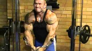 Lee Priest doing Cable Crossovers on Powertec Shape System