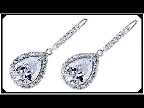 Pear Cut Synthetic Diamond Earrings Grown Man Made Silver ...