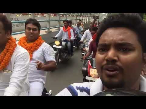 Sujit Singh BJYM- Bike Rally From Patna Airport to BJP Office