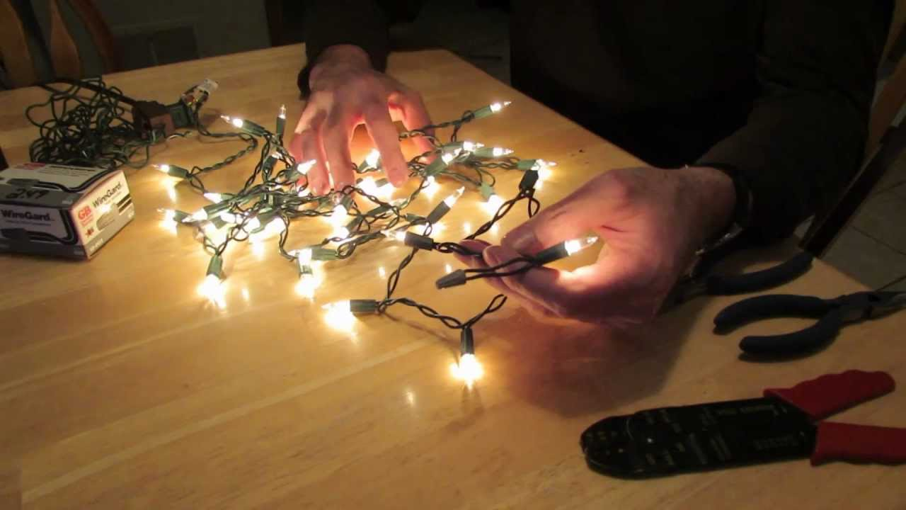 how to remove an end plug from a christmas light string