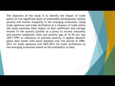 Trading for Sustainable Development Goals Trade Policy, Inequality and Poverty in Emerging Economies