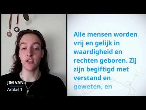 Jim Van Zuidam, Netherlands, reading article 1 of the Universal Declaration of Human Rights
