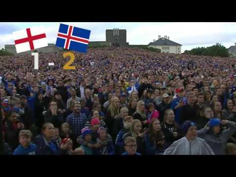 Icelanders in Reykjavik watching match England - Iceland