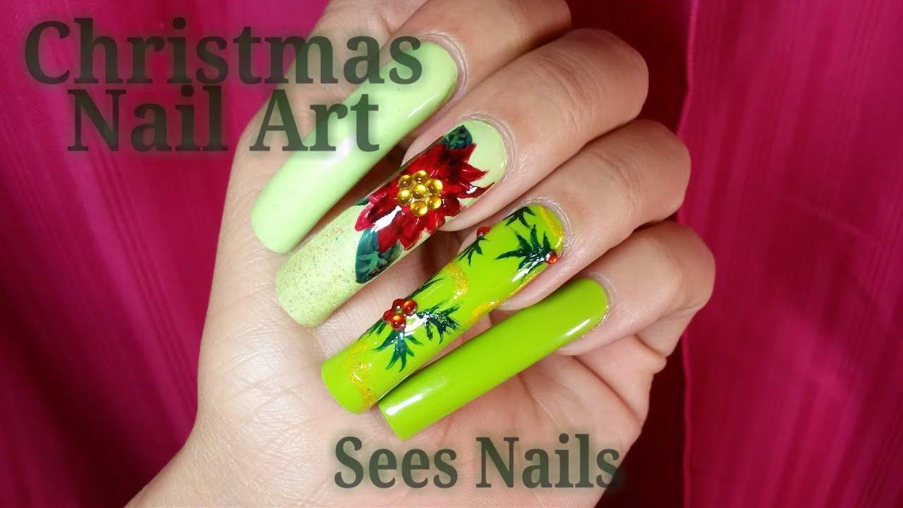 Long natural nails christmas nail art youtube long natural nails christmas nail art prinsesfo Gallery