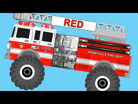 Monster Fire Trucks Teaching Colors & Crushing Words - Learning Basic Colours Video for Kids