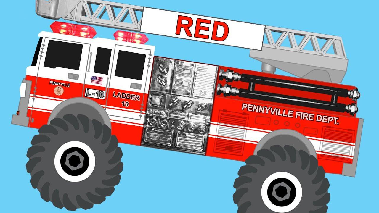 Monster Fire Trucks Teaching Colors & Crushing Words ...