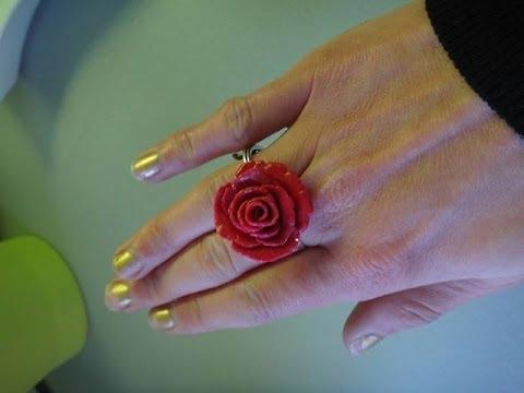 diy bague rose fleur fimo tuto bijoux youtube. Black Bedroom Furniture Sets. Home Design Ideas