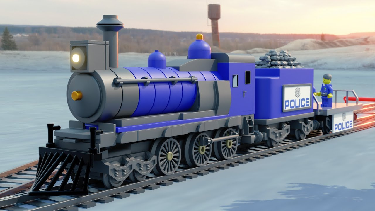 Lego train money Rob fail - Lego cartoon movie - choo choo train kids videos