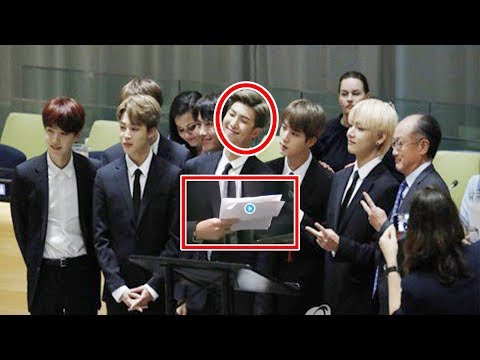 BTS RM Namjoon trembled his hands during his speech at UN. So heart touching.