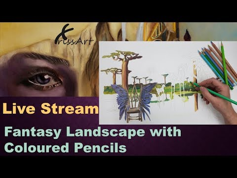 Pencil Fantasy Landscape Drawing