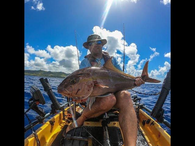Kayak jigging with 500-700 gram jigs -Almaco from Hobie Pro Angler 14 on Guam