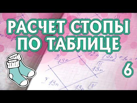Как рассчитать ряды по стопе носка, используя таблицу 6 - Вязание для начинающих