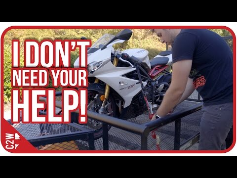 Loading a motorcycle in a trailer BY YOURSELF
