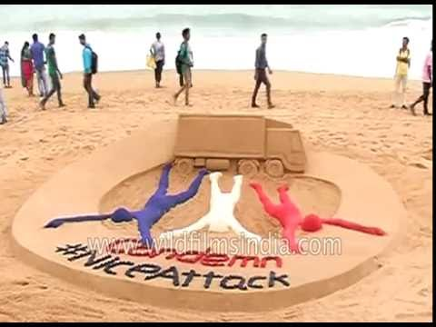 Indian sand artist draws in memory of Nice attack victims