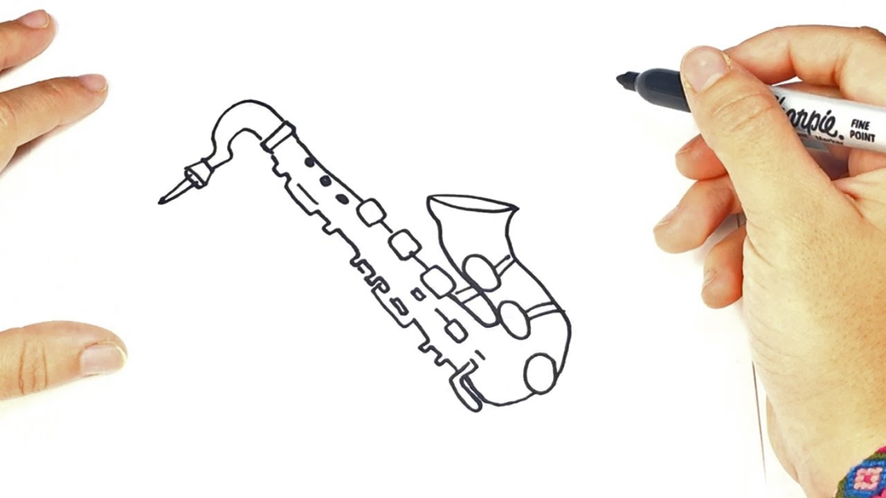 Como dibujar un saxofon para ni os dibujo de saxofon - Ninos en clase dibujo ...