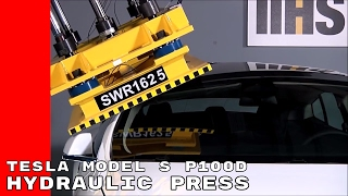 Crushing Tesla Model S P100D With Hydraulic Press