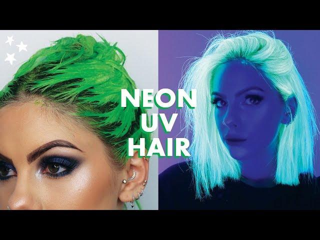 NEON UV GREEN HAIR DYE TUTORIAL