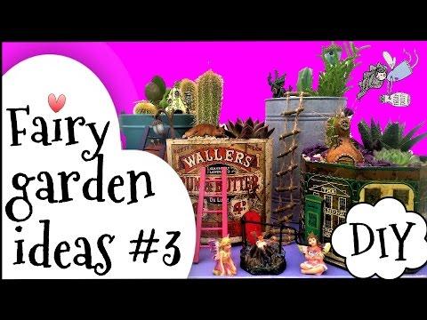 Miniature fairy garden ideas DIY - Cute tin town mini fairy garden.