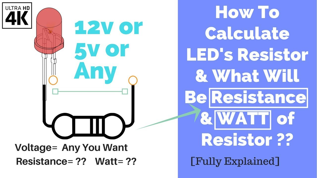 How to calculate led's resistor and watt of it of12v & 5v or any.