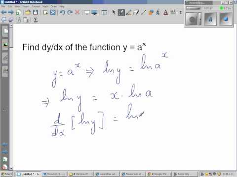 Proof of derivative of y = a^x