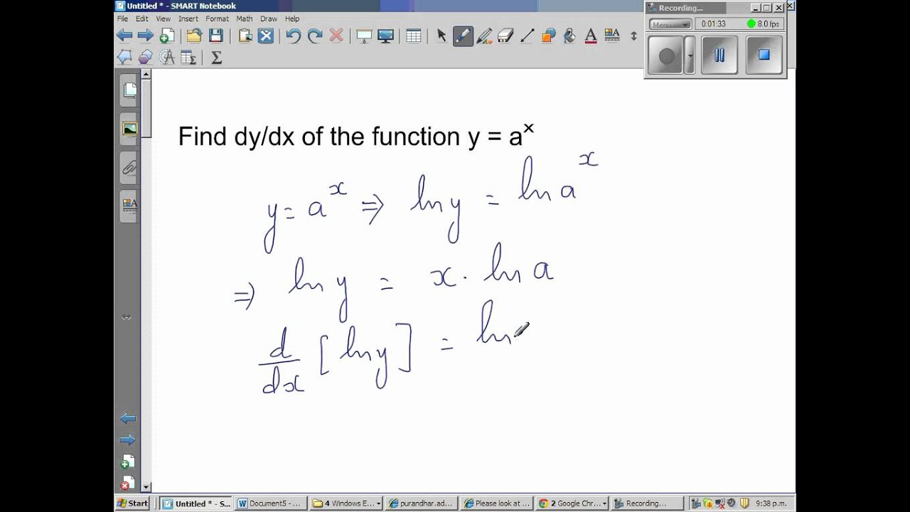 Proof Of Derivative Of Y A X
