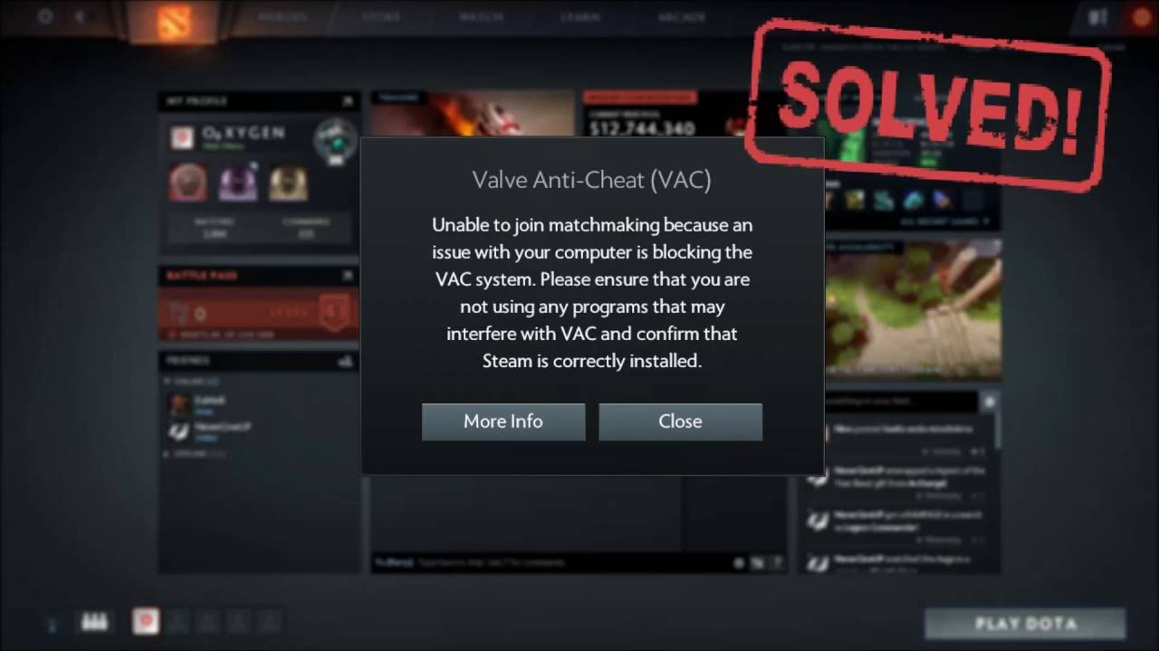 valve anti cheat vac problem in dota 2 solved youtube