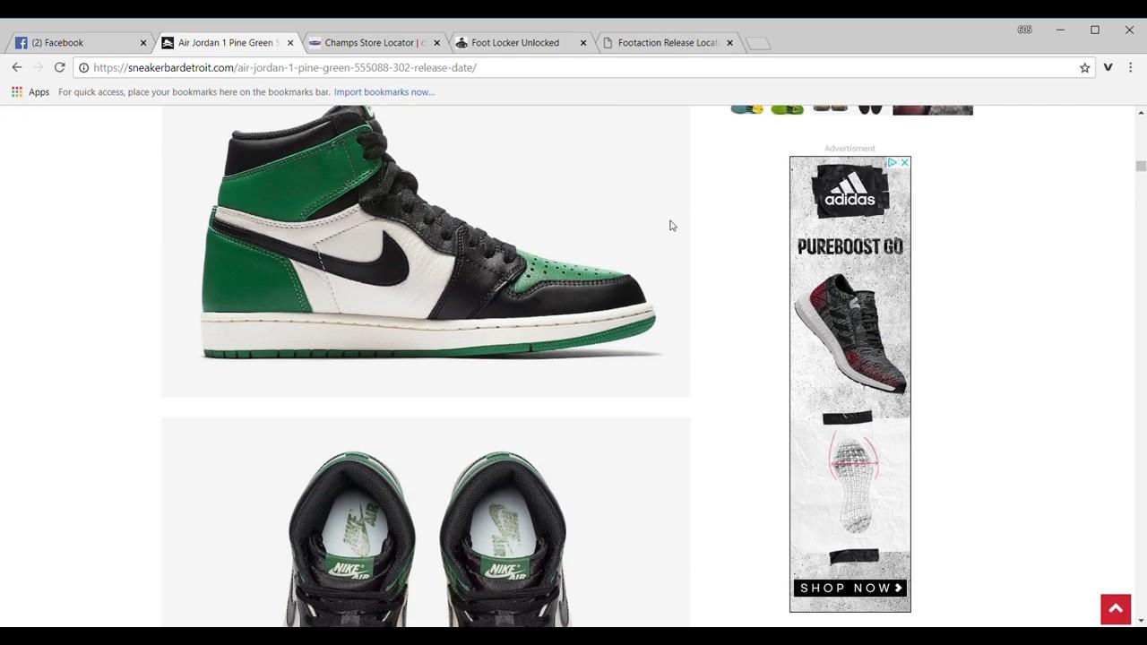 b80e754860f0c5 Air Jordan 1 Pine Green Release Date w  Launch Locator!  Jordan1Squad