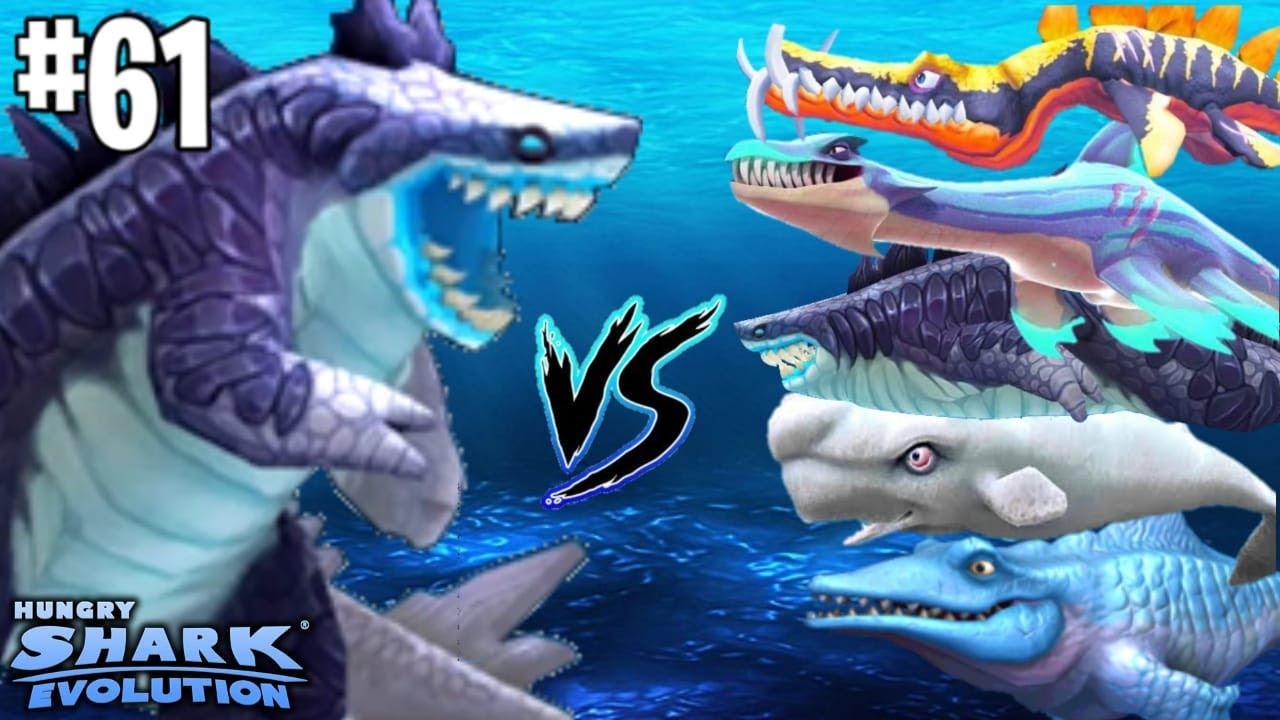 GODZILLA (SHARKJIRA TUBARÃO KAIJU) vs TODAS as CRIATURAS - HUNGRY SHARK EVOLUTION #61 HD