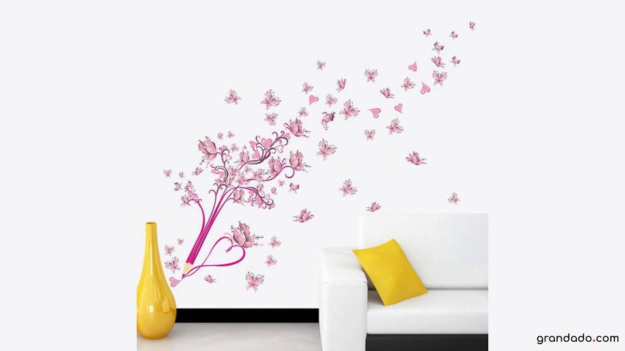3d Stickers Muur.3d Pvc Diy Roze Bloemen Vlinder En Potlood Muur Stickers Home Decor