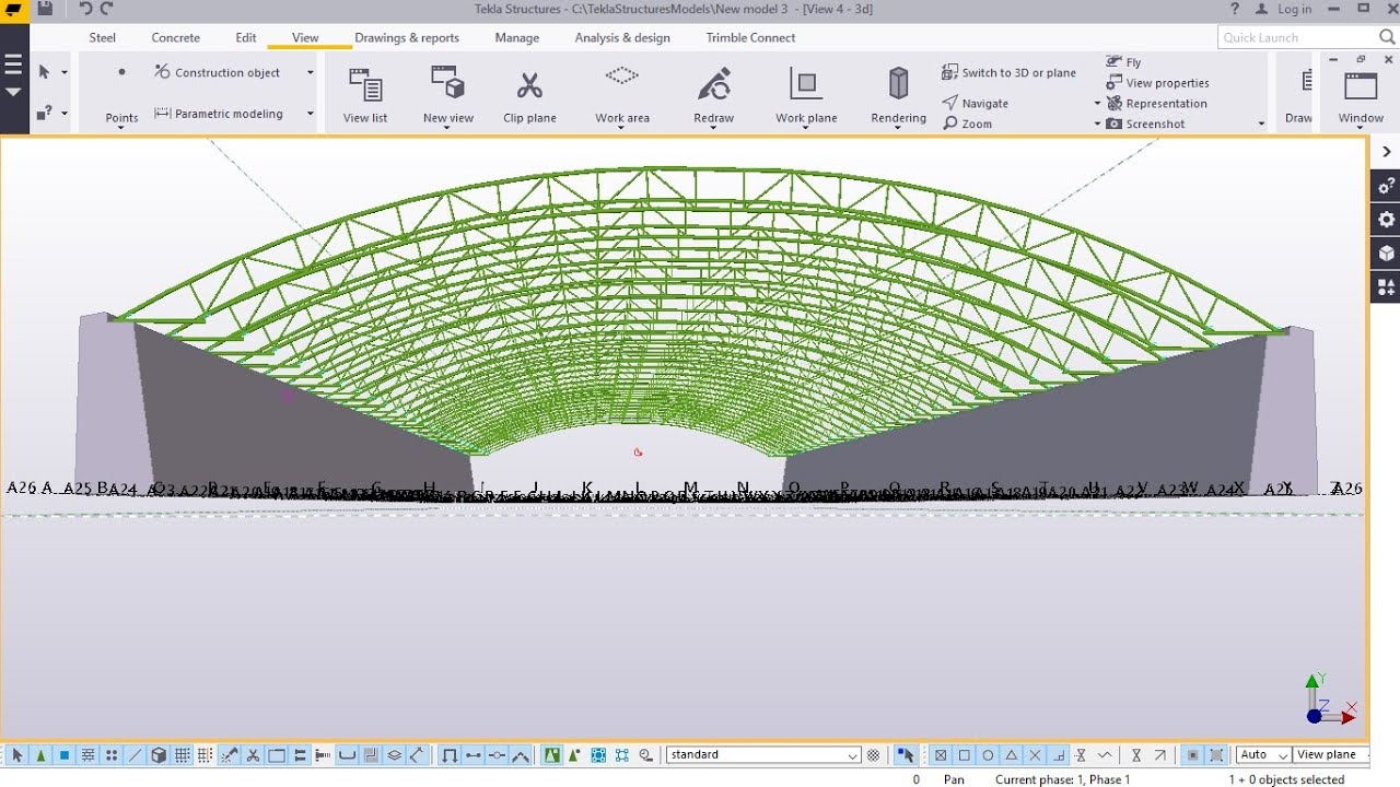 How To Create A Curved Truss Tekla Structures 2017i Youtube