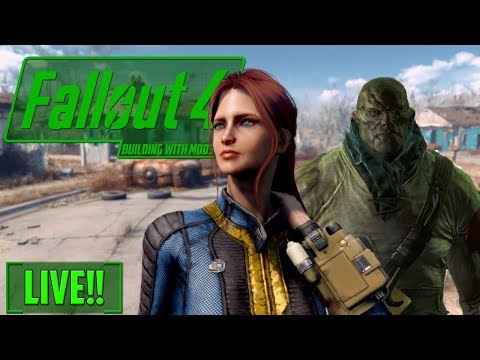 BUILDING WITH MODS - Virgils Lab part 1! - FALLOUT 4 - LIVE!! low res