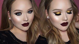 GOLD Cut Crease - Seductive Vampy Lips Makeup