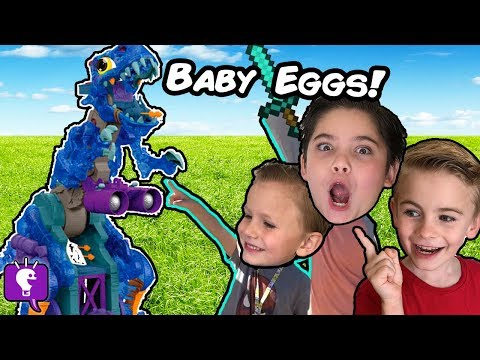 GIANT BAD T-REX Wants DINO BABY Eggs! ANGRY Surprise Toy Adv