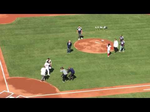 Rob Gronkowski steals Tom Brady jersey, makes Brady scramble during Fenway Park home opener