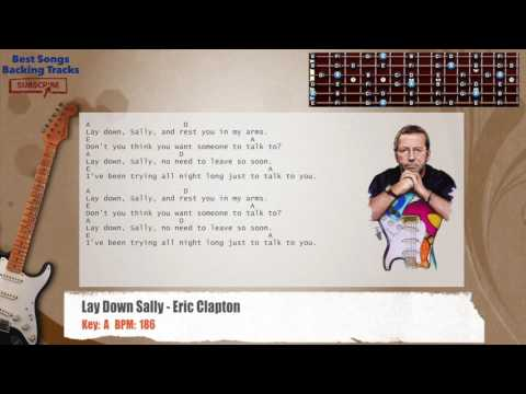 Lay Down Sally - Eric Clapton Guitar Backing Track with chords and lyrics