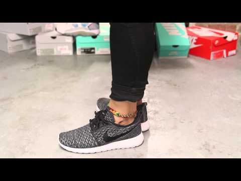 712adf21fd0d uvsmxz Woman  s Nike Rosherun Flyknit - Dark Grey - Black On-feet