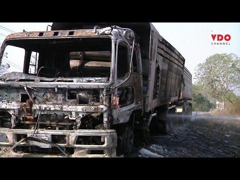ไฟไหม้รถบรรทุกสิบล้อพ่วงวอดทั้งคัน คาดเกิดจากก๊าซ NGV รั่ว