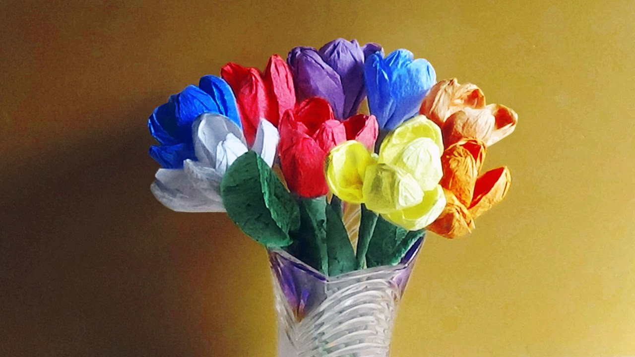 How To Make Tulip Flowers With Paper Napkins Youtube
