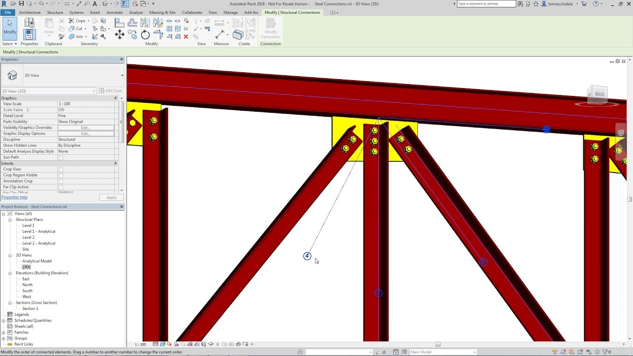 Revit 2018 New Feature - Priority of Elements in Steel Connections