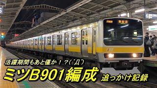 【中央・総武線各駅停車】夜の秋葉原を発着するミツB901編成