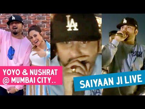 saiyaan-ji-►-yo-yo-honey-singh-live-performance- -honey-singh-&-nushrat-arrives-at-mumbai-city