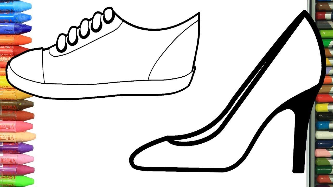 Como Dibujar Y Colorear Zapatilla Dibujos Para Ninos Aprender