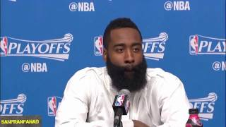 James Harden Postgame Interview   Rockets vs Thunder Game 2   NBA Highlights HD