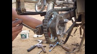 TVS Star City 110cc Chain sprocket and Brake shoe replacement